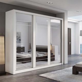 Armoire coulissante avec miroirs ARTI en blanc