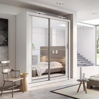 Armoire coulissante 2 portes ARTI-03 en blanc avec miroir