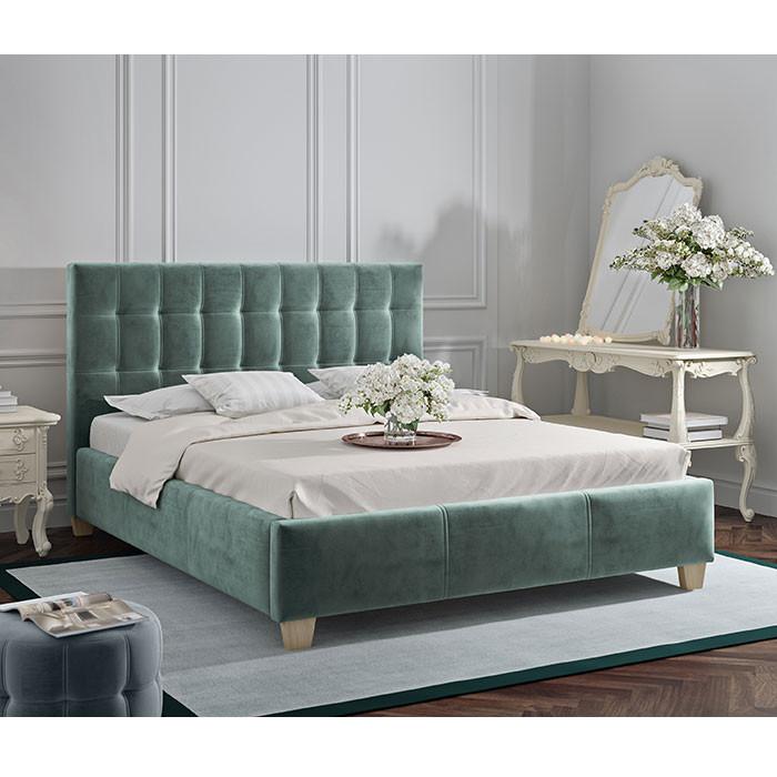 lit capitonné 160x200 cm dolores avec sommier et textile