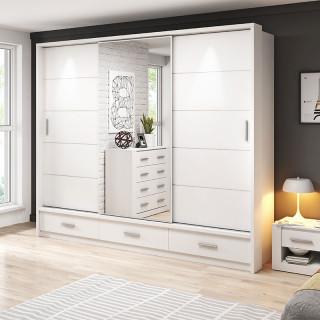 Armoire coulissante 3 portes avec miroir ARTI blanc