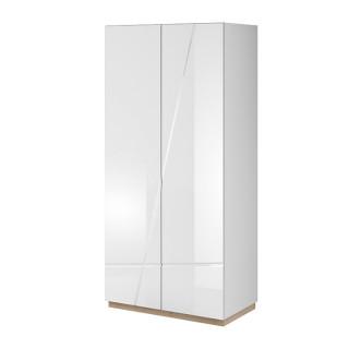 Armoire 2 portes FUTURA en blanc brillant et chêne riviera