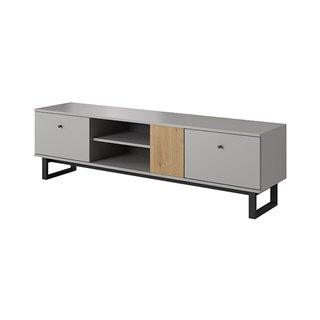 Meuble TV 175 cm AVIO en chêne artisan et gris style loft