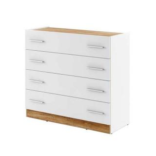 Commode blanche et bois 4 tiroirs DENTRO